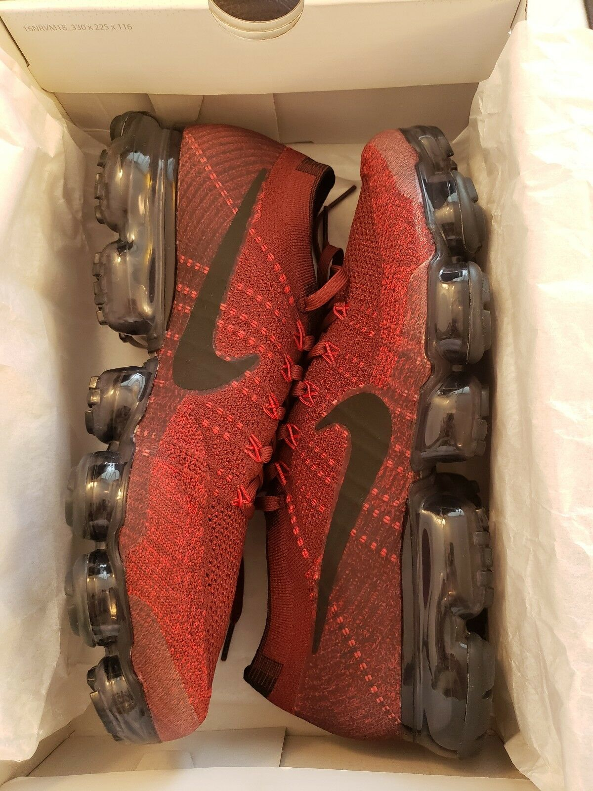 Nike Air VaporMax Flyknit Dark Team Red Black Men's Size 11 [849558 601] NIB
