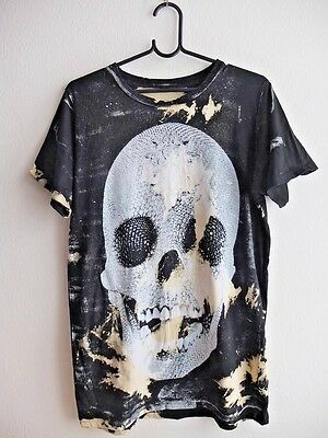 Human Skull Dyed Grunge Goth Punk Rock Graphic Tee T-shirt Unisex L-XL fit