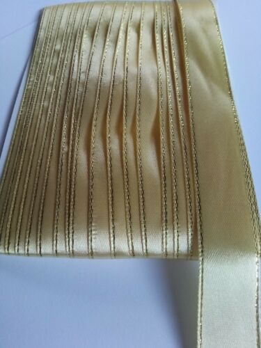 5M 20mm Gold Edged Polyester Ribbon Card Making Wedding Scrapbooking Craft Art