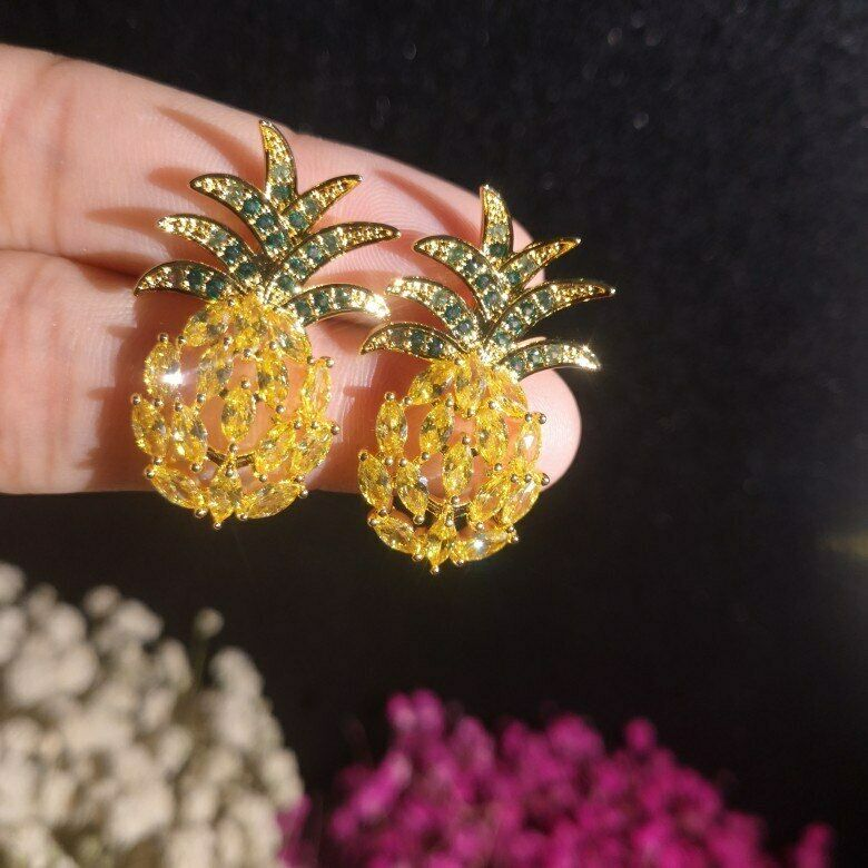 2ct Marquise Cut Yellow Citrine Pineapple Stud Earrings 14k Yellow gold Finish