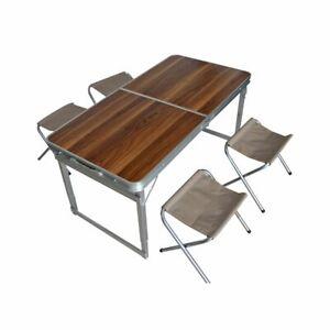 Tavoli Alluminio Pieghevoli Usati.Campeggio Set Pieghevole Alluminio Legno Design Tortora 1 Tavolo 4