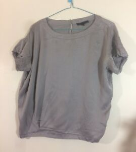 haut-blouse-grise-soie-Maje-taille-36-tbe-C1067