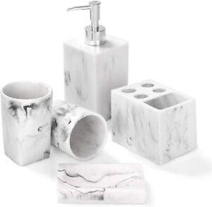 Bathroom Accessories Set 5 Piece Marble Complete Bathroom Set For Bath Decor Ebay
