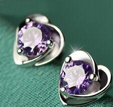18k White Gold GP Purple Heart Crystal Love Gift Earrings Studs Clip
