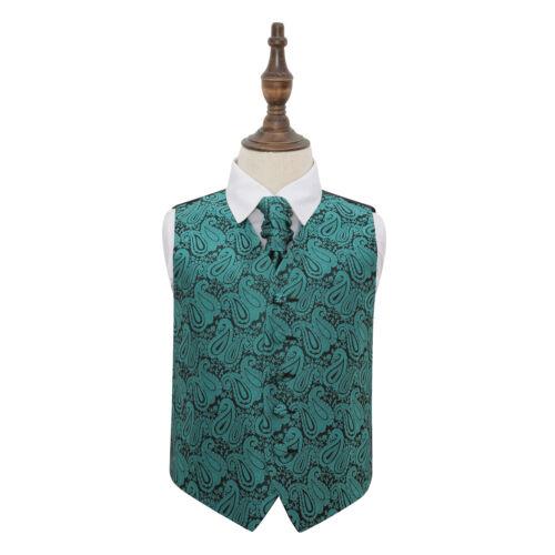 DQT Floral Paisley Teal Boys Wedding Waistcoat /& Cravat Set