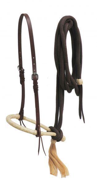SHOWMAN WESTERN SADDLE HORSE LEATHER & RAWHIDE BOSAL HEADSTALL  W  NYLON MECATE  online fashion shopping