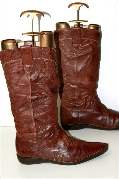 KICKERS Mid Boots Very Pointed Leather Crumpled Brown Brown Brown Lined T 40 GOOD CONDITION b3129d