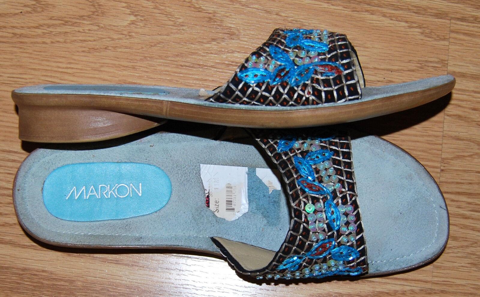 MARKON Aqua blue gold beaded flats sandals mules NEW block heels 11 embroidered NEW mules fa13c7