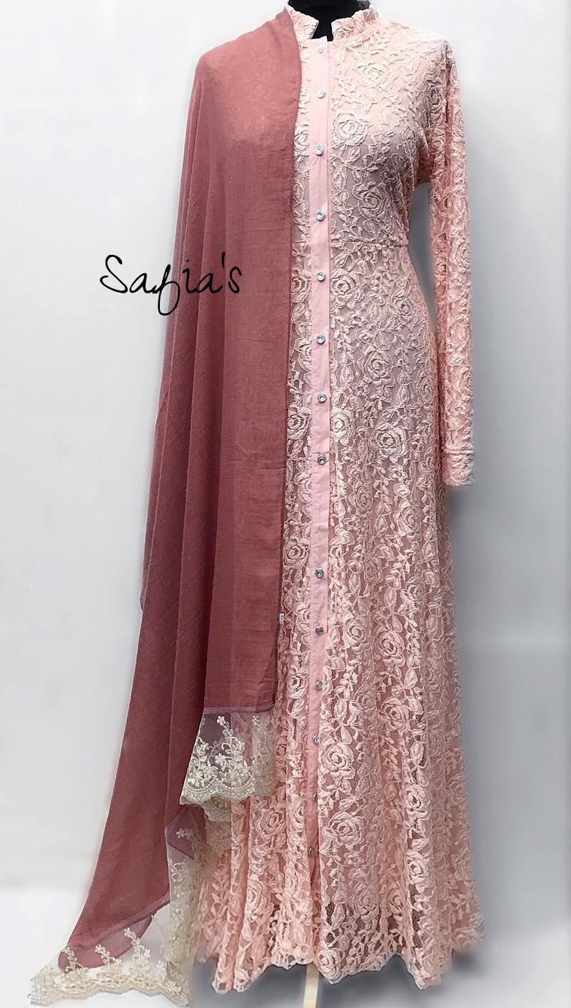 Peach Luxury Lace Jilbab Jilbab Jilbab Abaya Fully Lined Open Front | Günstige Preise  | Elegantes und robustes Menü  11e95b