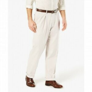 Dockers-Men-039-s-Relaxed-Fit-Comfort-Khaki-Cuffed-Pants-Pleated-D4-Cloud