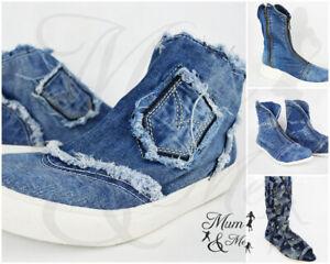 Dettagli su Scarpe donna Nnuovo Jeans materiale elastico piatto Denim Tessuto Ginocchio Stivaletti mostra il titolo originale