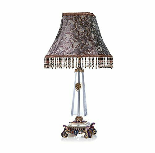 Ror Luxury Enameled 24K or Handmade Table Lamp, Bohemian Crystal + Swarovski
