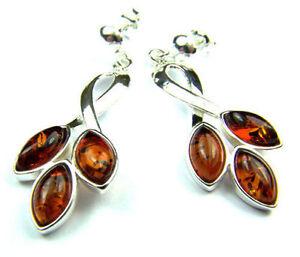 SilverAmber-Jewellery-Earings-M018-925-Sterling-Silver-Cognac-Amber-Stones