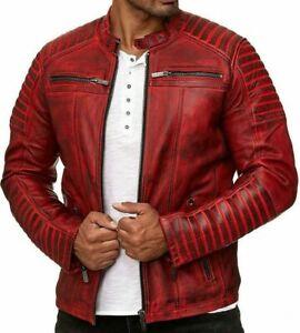 Giacca da uomo in pelle, stile vintage, colore: rosso (L