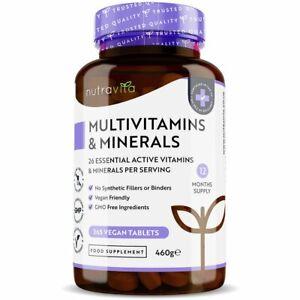 Multivitamins & Minerals A-Z Men & Women 365 Vegan Tablets - 100% NRV One A Day