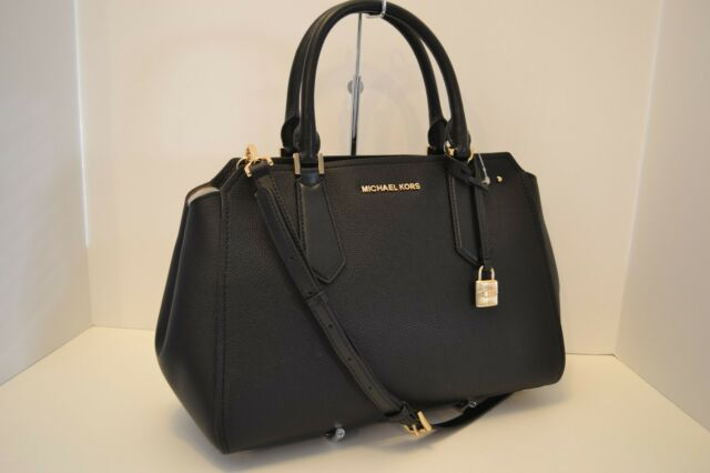 3aba8c48cd Michael Kors Hayes Black Leather Large Satchel Crossbody Purse for ...