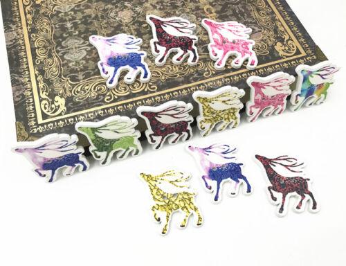En bois Boutons Cerf de couture décorations de Noël Artisanat Scrapbooking 33 mm