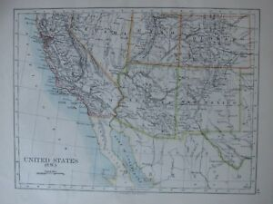 Details about 1894 VICTORIAN MAP ~ UNITED STATES SOUTH WEST ARIZONA NEW  MEXICO UTAH