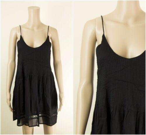 ex Zara Black Lace Trim V Back Cami Dress