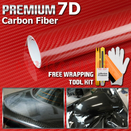 *2ft x 5ft 7D Top Grade Shinny Gloss Red Carbon Fiber Vinyl Wrap Sticker Decal