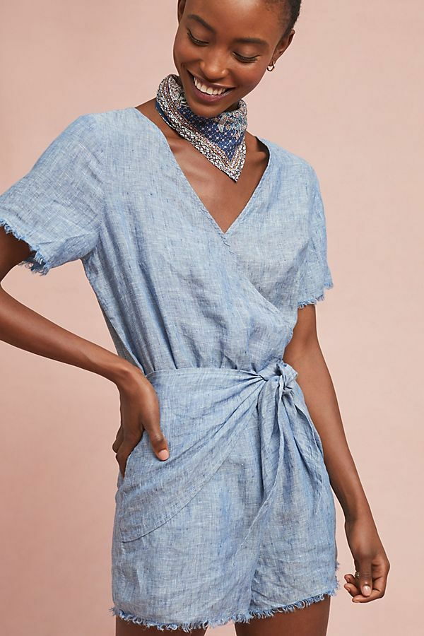 138 Anthropologie  MONTANA TIE-FRONT ROMPER NWT new size L