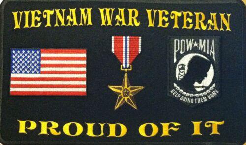 BRONZE STAR POW MIA USA FLAG IRON ON PATCH VIETNAM WAR VETERAN PROUD OF IT