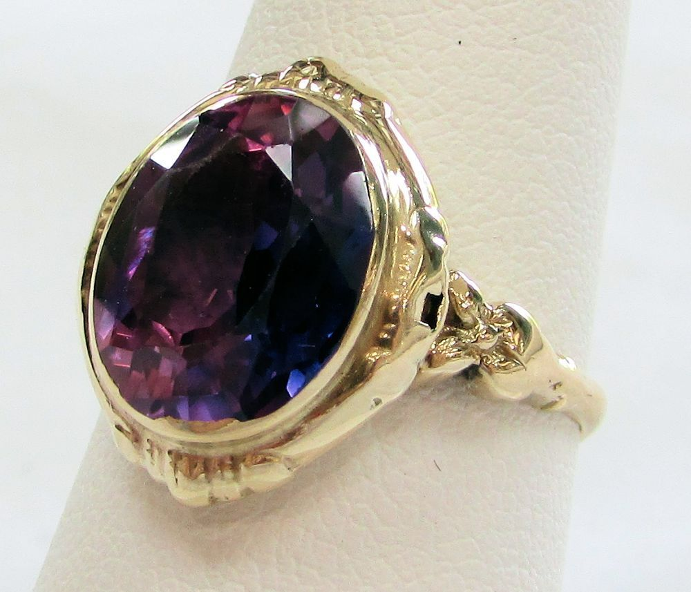 CLASSIC 04K gold OVAL 3.48ct AMETHYST RING SIZE 7 1 2