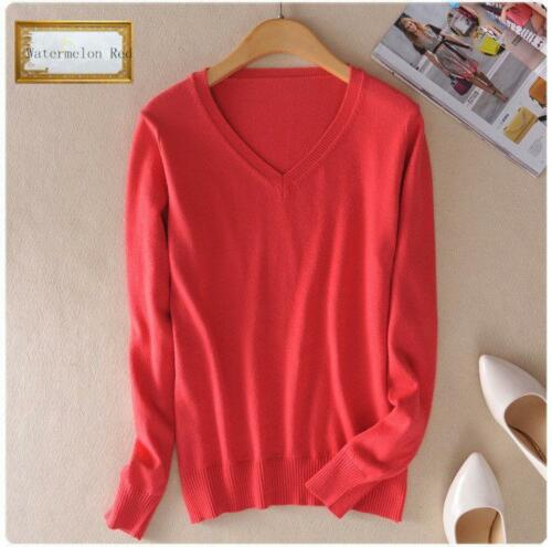 Damen Solid V-Ausschnitt Kaschmir-mischung Kurzer warmer Pullover Schlank Tops