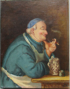 Old-1800s-to-early-1990s-Oil-on-Canvas-Painting-Monk-Smoking-29cm-x-22cm