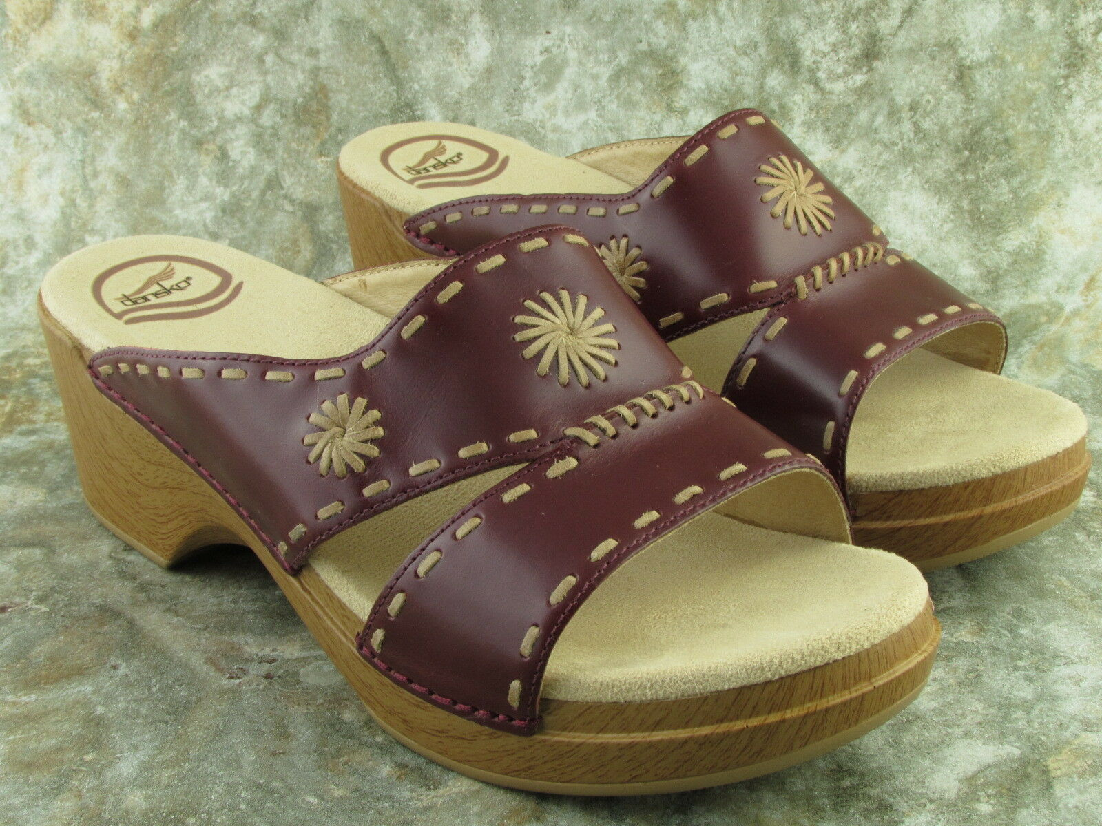 DANSKO Dark Red Leather Sandal Slides Slip On Shoe Womens Size US 10.5/11