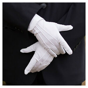 2 Pair White Cotton Formal Gloves Tuxedo Honor Guard Parade Collection Serve New
