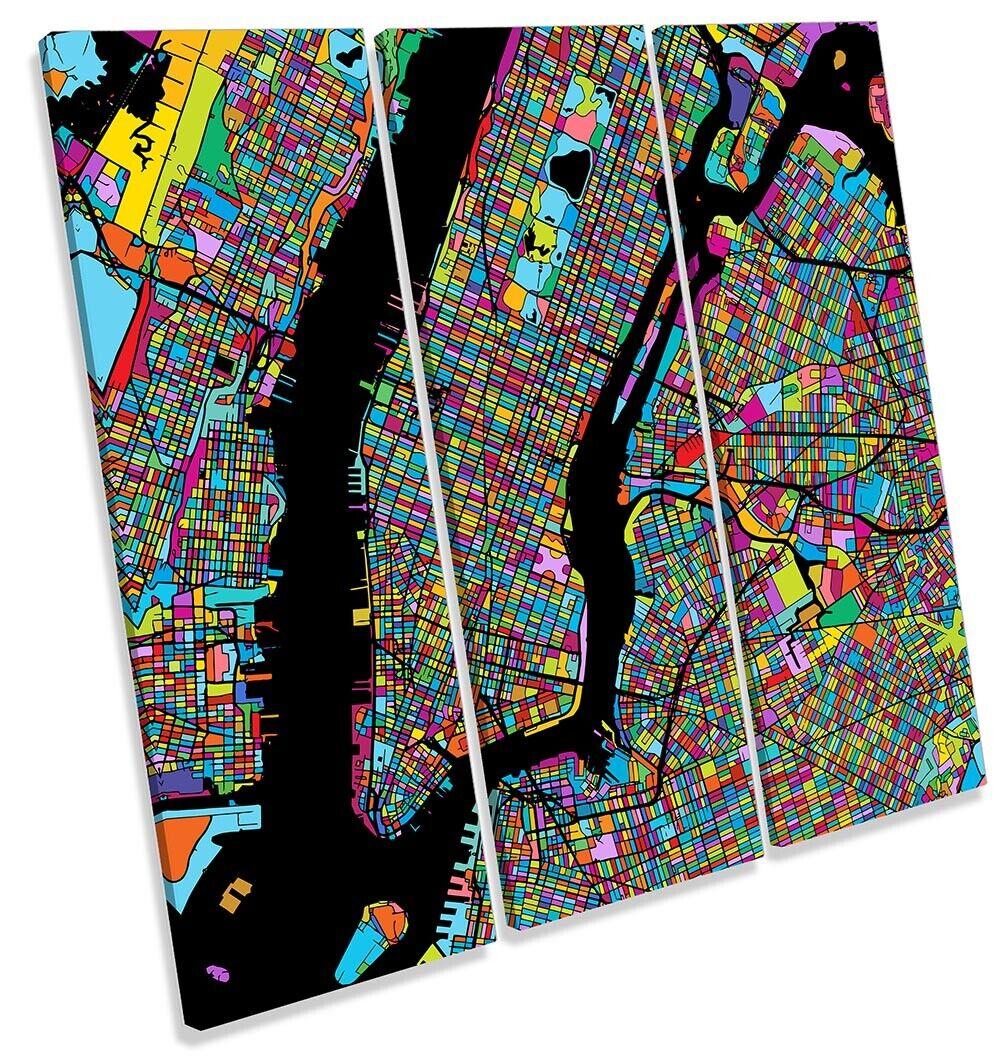 New York Mahattan Modern Map Bild TREBLE CANVAS Wand Kunst Square Drucken