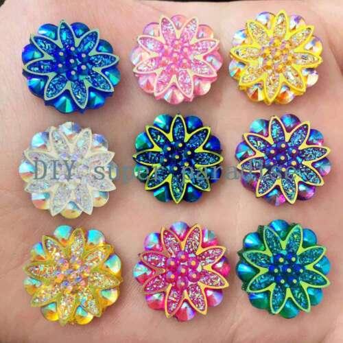 HOT 10pcs 18mm Resin flower Rhinestone FlatBack Scrapbooking Embellishment DIY