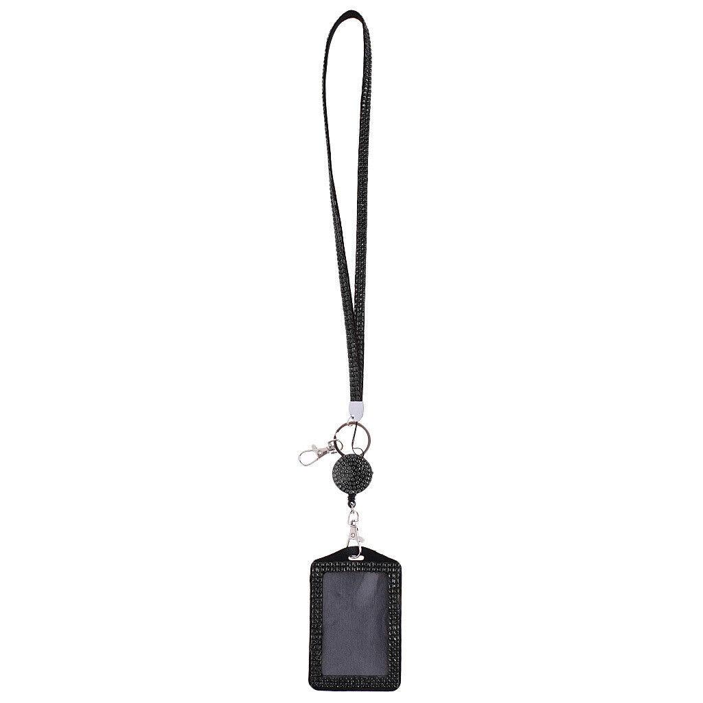 Étincelle strass cristal lanière carte porte-badge en cuir Bling ID