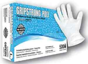 500 x Clear Transparent Poly Gloves Powder Free Non Latex Non-Sterile L