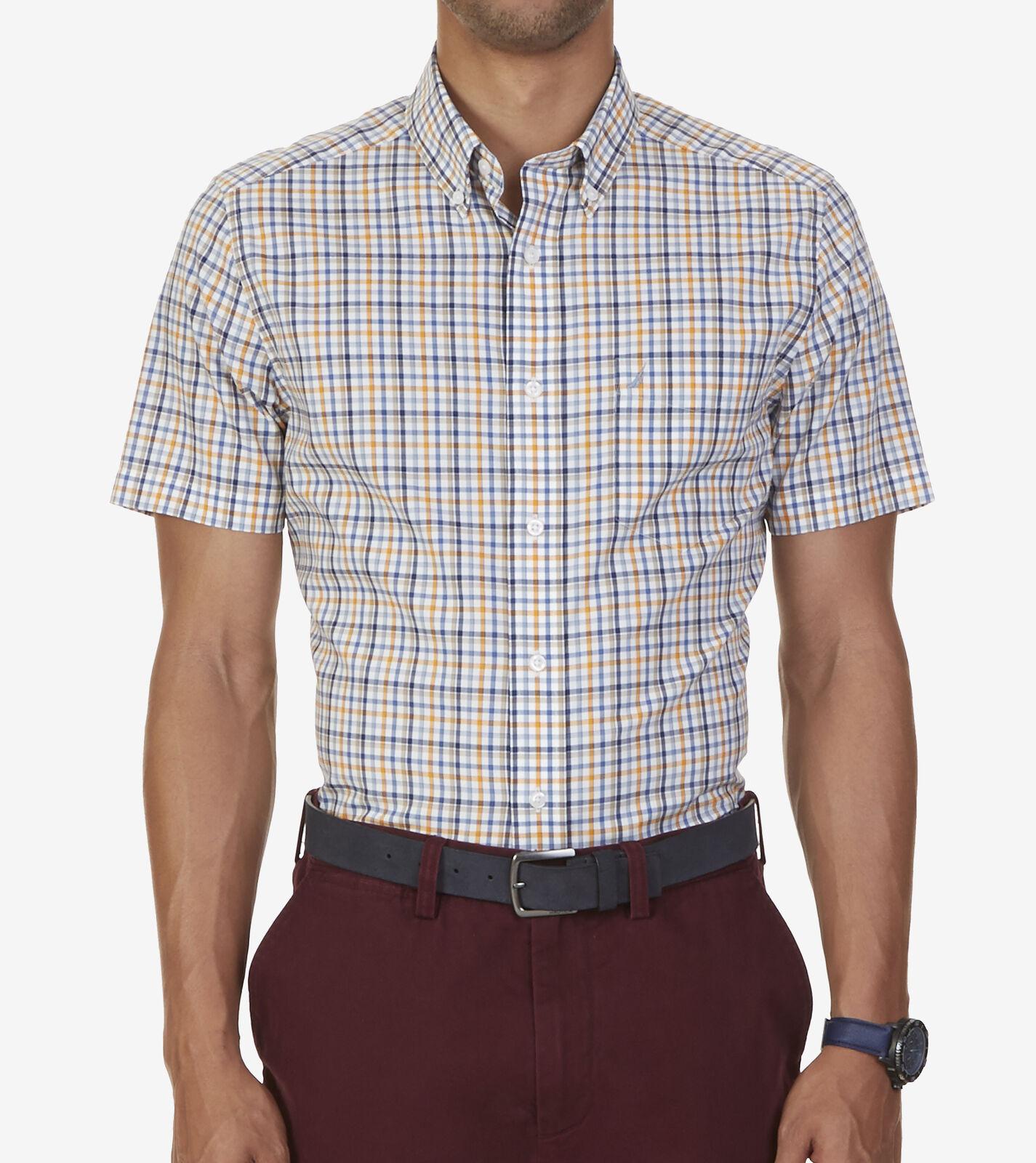 0935113a8 Nautica Wrinkle-resistant, Plaid Woven Shirt, Short Sleeves, Sail White