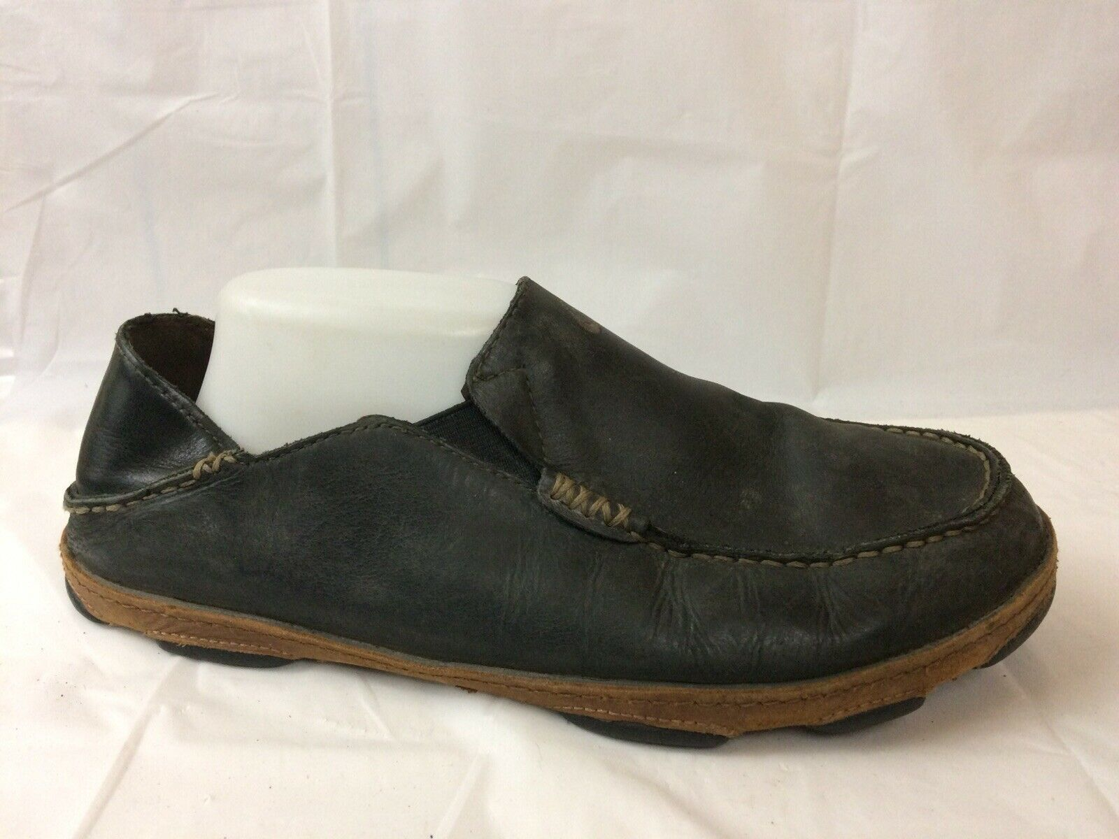 Olukai Moloa Mens 9.5 Med Black Moc Slip On Clogs shoes Casual Leather Loafers