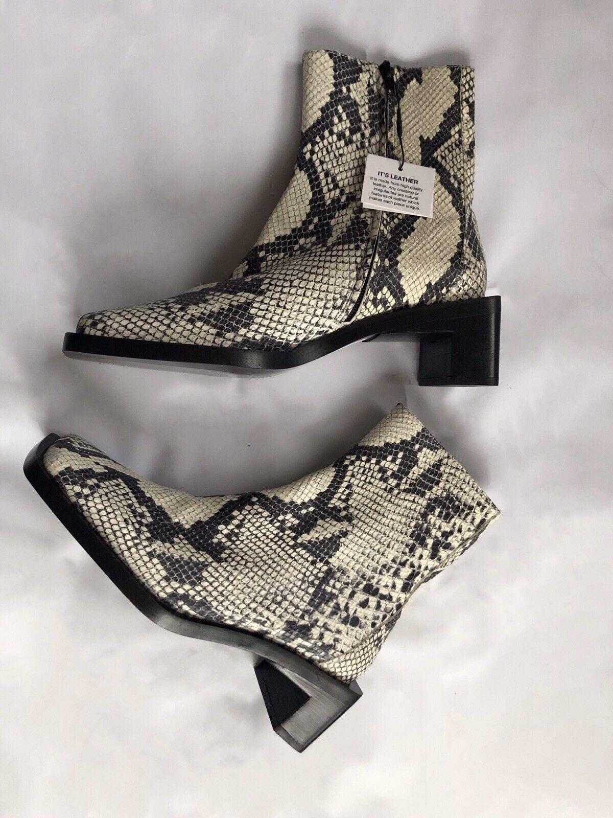 Zara Grey Snakeskin Animal Print Leather Low Heel Ankle Boots Uk6 Eu39