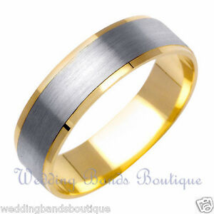 14k Two Tone White Yellow Gold Mens Wedding Band Mans Men
