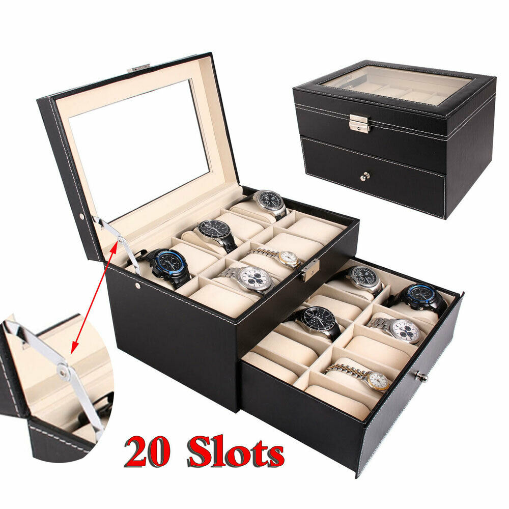 20 Slot Watch Box Leather Display Case Organizer Glass Top L