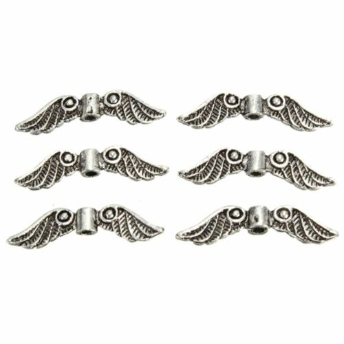 Silver Tone Angel Fairy Wing Charm Spacer Beads For Jewelry Making Craft 20Pcs