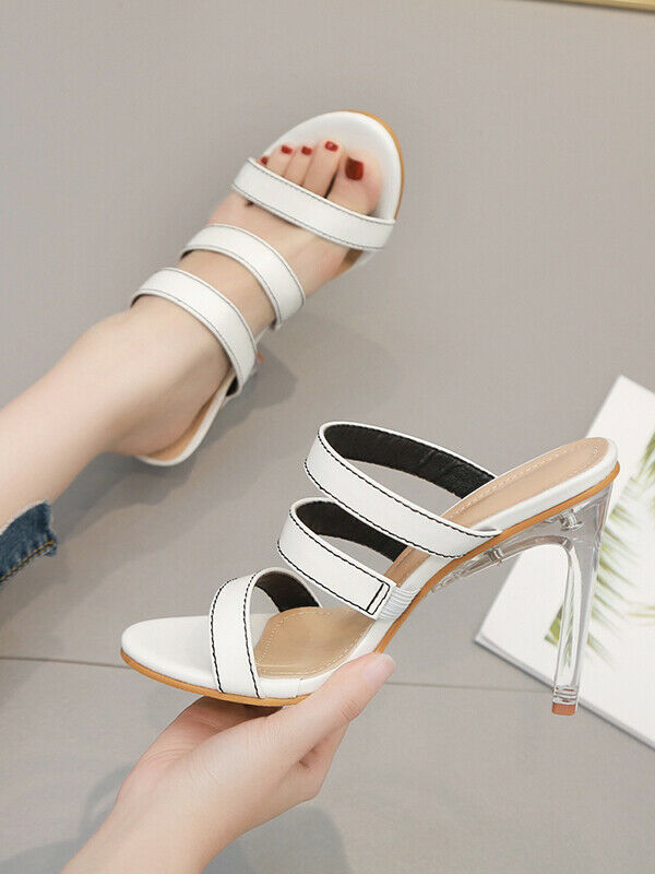 Sandalen Holzschuhe Leder Kunststoff Weiß Elegant Stilett 12 cm Klar cw101