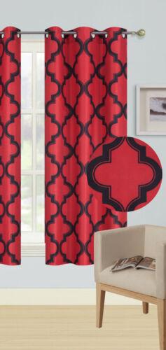 RED//BLACK PANEL//VALANCE MOROCCAN PRINT WINDOW LINED LIGHT BLOCKING CURTAIN