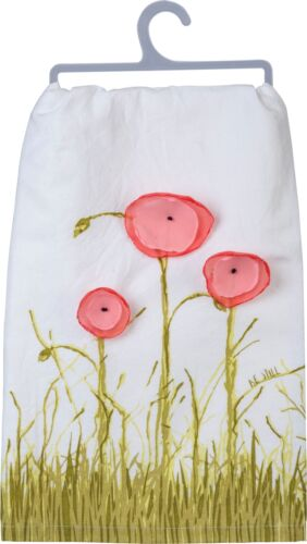 Primitives by Kathy Be Still Dimensional Poppy Flowers Kitchen Dish Towel