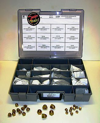 Solid Brass Acorn Nut Assortment Tray, 110 Piece, HD, Bobber, Chopper, Vintage,