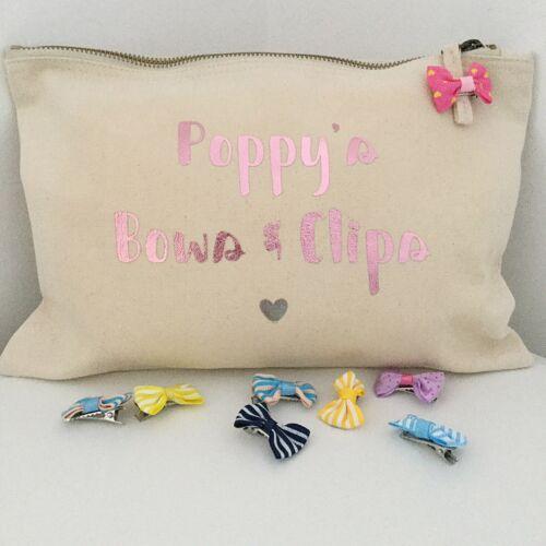 Personalised Hair Bow Clip Holder Bag Bow Storage Hair Bow Organiser