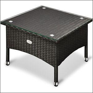 Rattan Coffee Table Garden Wicker Furniture Balcony Patio Black Table Glass Top Ebay