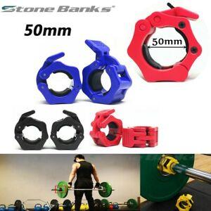 "50mm 2/"" Standard Lock Pair Barbell Collar bar bell clamps Weight lifting 50mm 2/"""