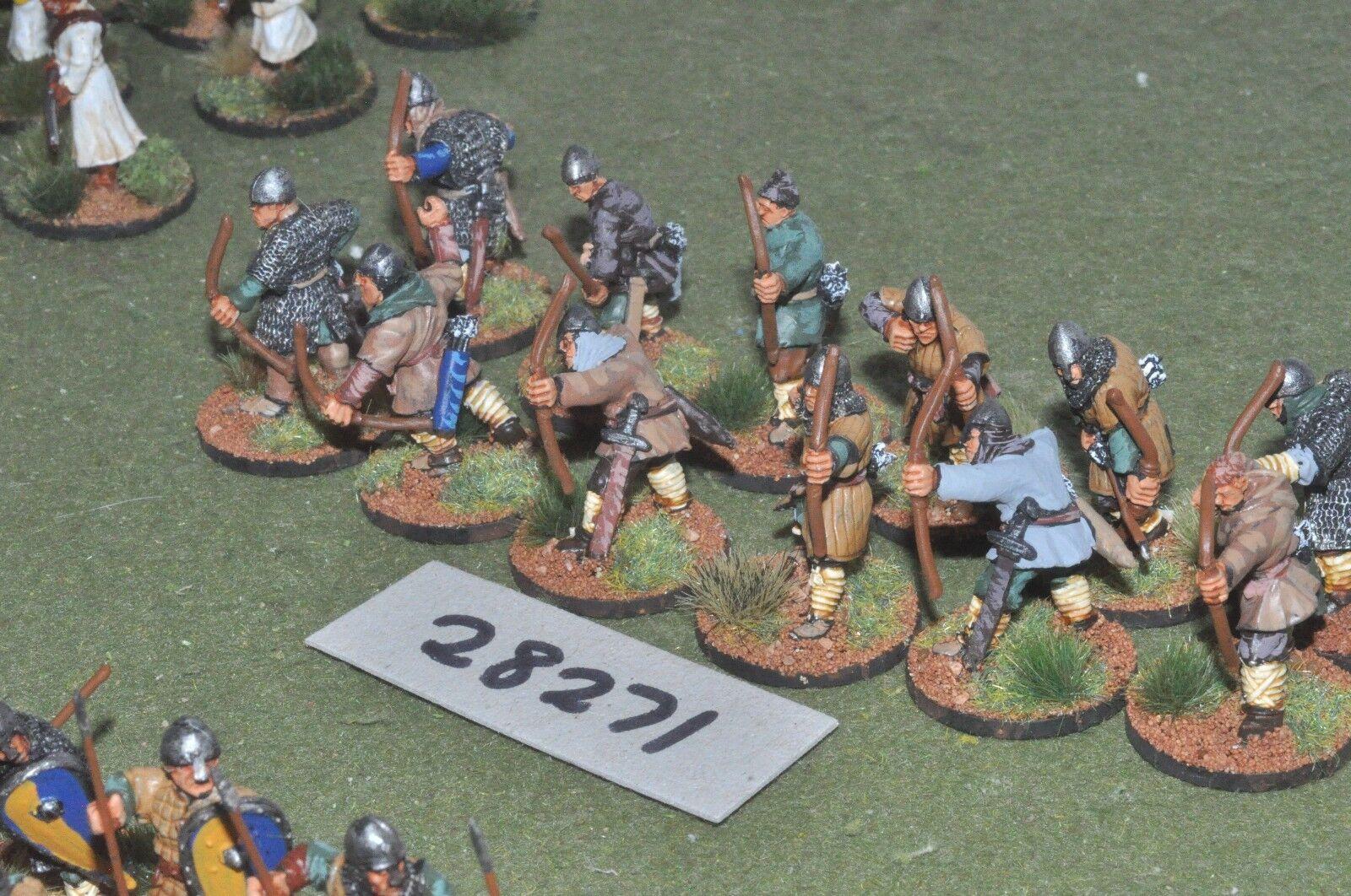 25mm edades Oscuro Norman-arqueros 12 figuras-INF (28271)