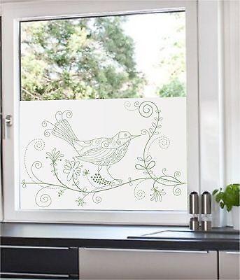 Glasdekorfolie Fensterfolie Design Sichtschutzfolie Milchglas  Vintage Vogel